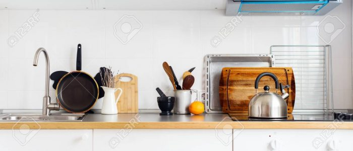 Long Banner Kitchen Still Life Rustic Dishes Table Ware Chopping Board Tray Other Different Stuff White Background